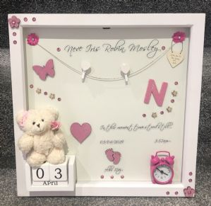 Personalised Gift Deep Box Frame No Glass Photo Frame Girl Boy New Baby Pink Keepsake